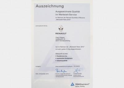 Auszeichnung Werkstatt Service Renault