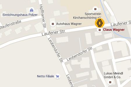 Anfahrtsplan Autohaus Claus Wagner - Renault Werkstatt